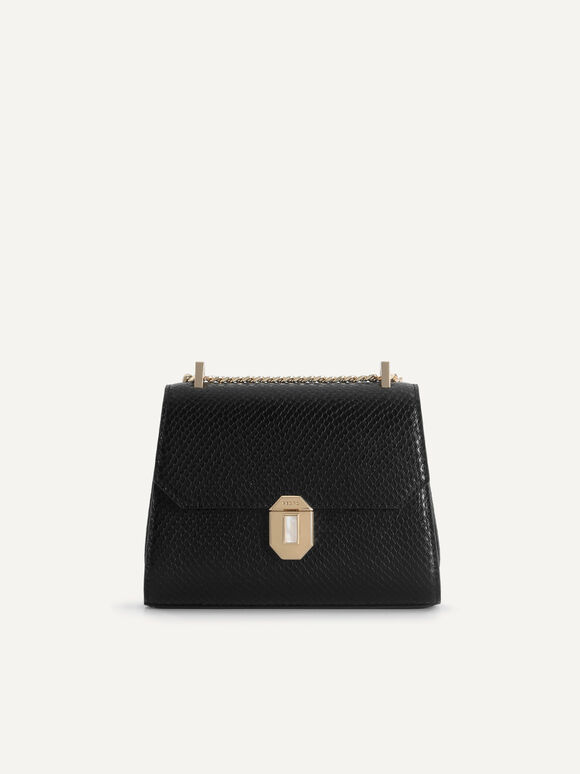 Snake-Effect Leather Shoulder Bag, Black, hi-res