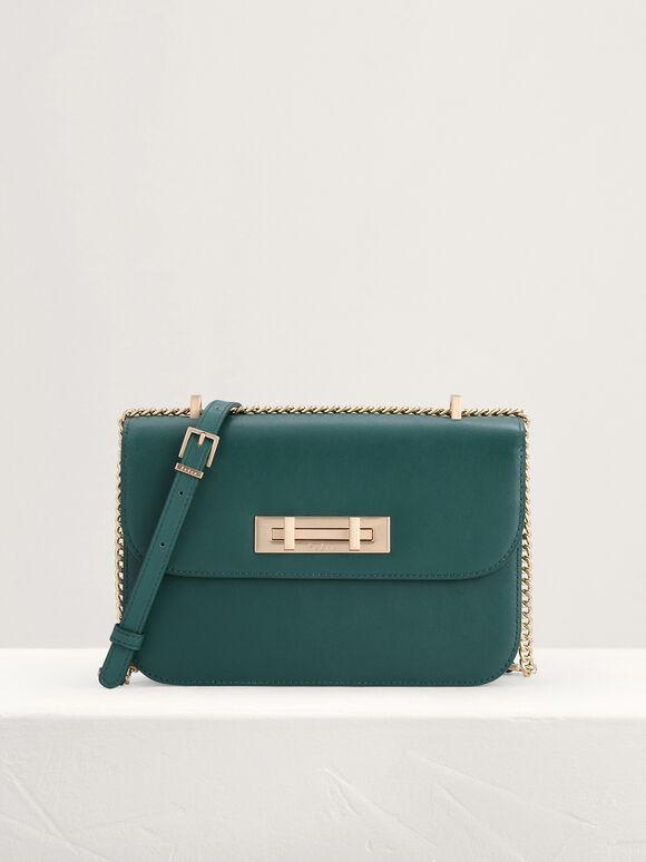 Boxy Leather Shoulder Bag, Green, hi-res
