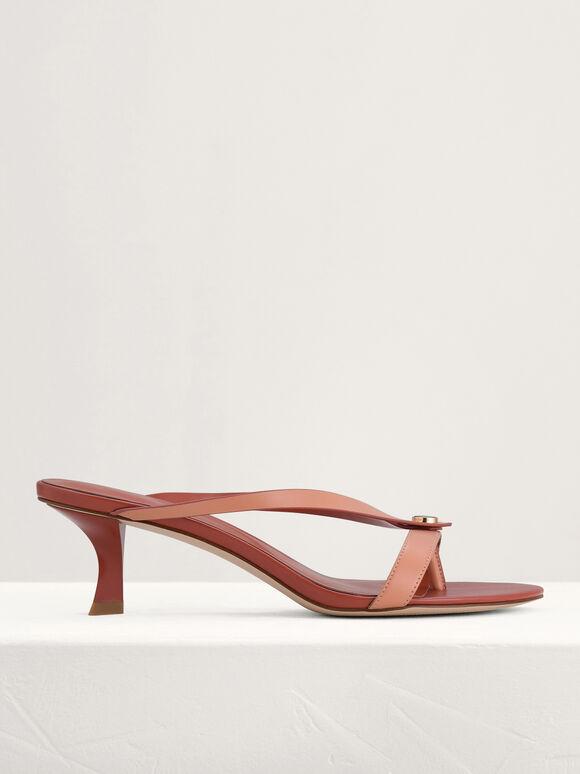 Thong Heeled Sandals, Peach, hi-res