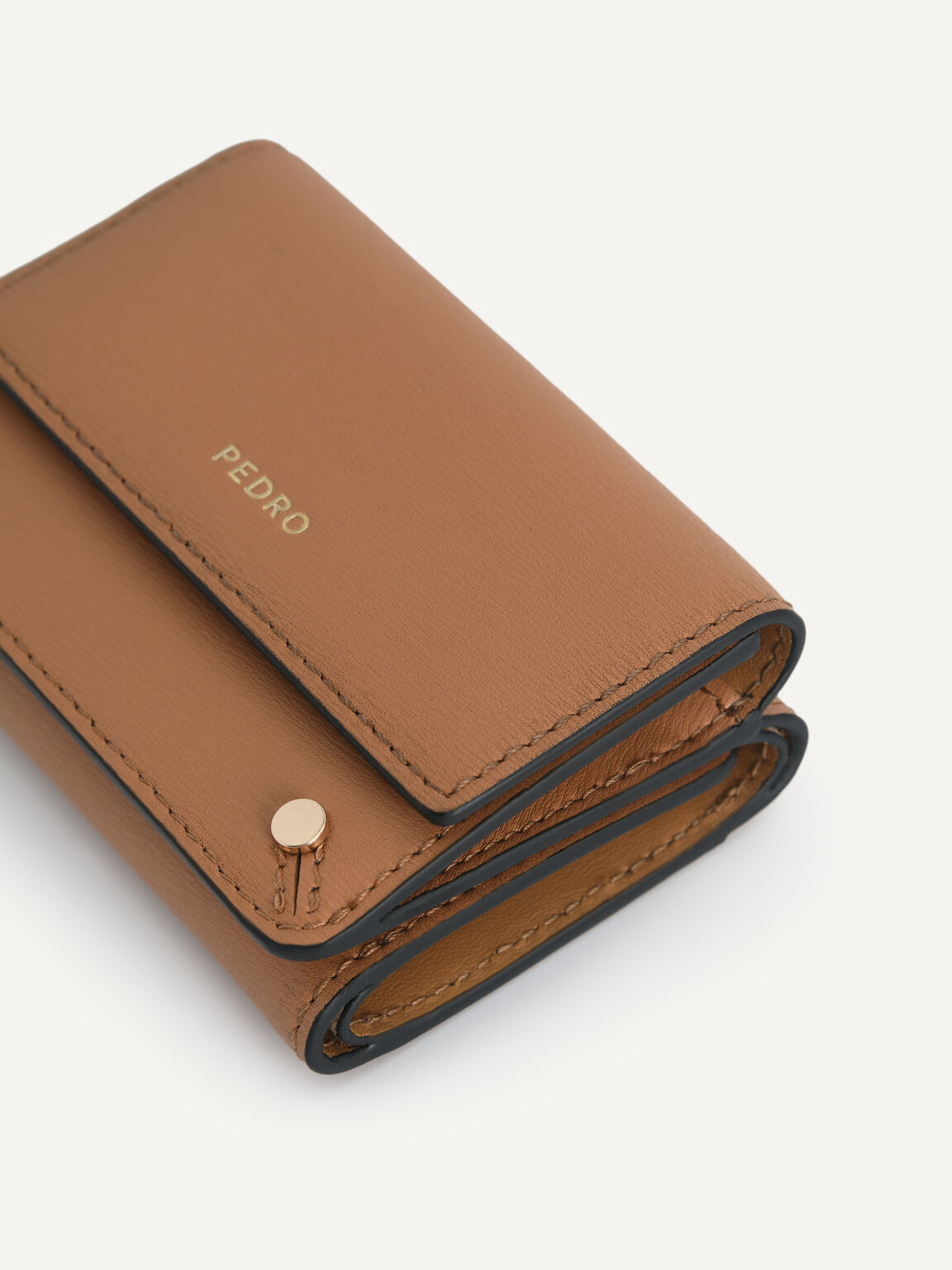 Textured Leather Trifold Wallet, Camel, hi-res