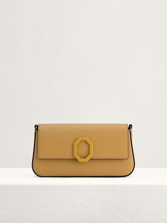 Leather Shoulder Bag, Yellow, hi-res
