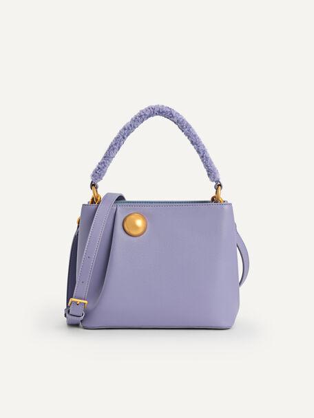 Orb Shearling Top Handle Bag, Violet, hi-res