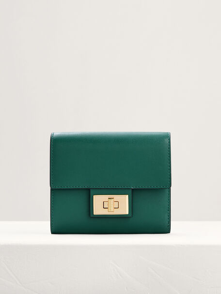Leather Short Wallet On Chain, Green, hi-res
