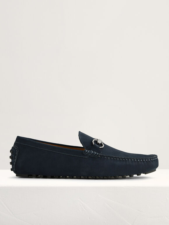 Leather Bit Moccasins, Navy, hi-res