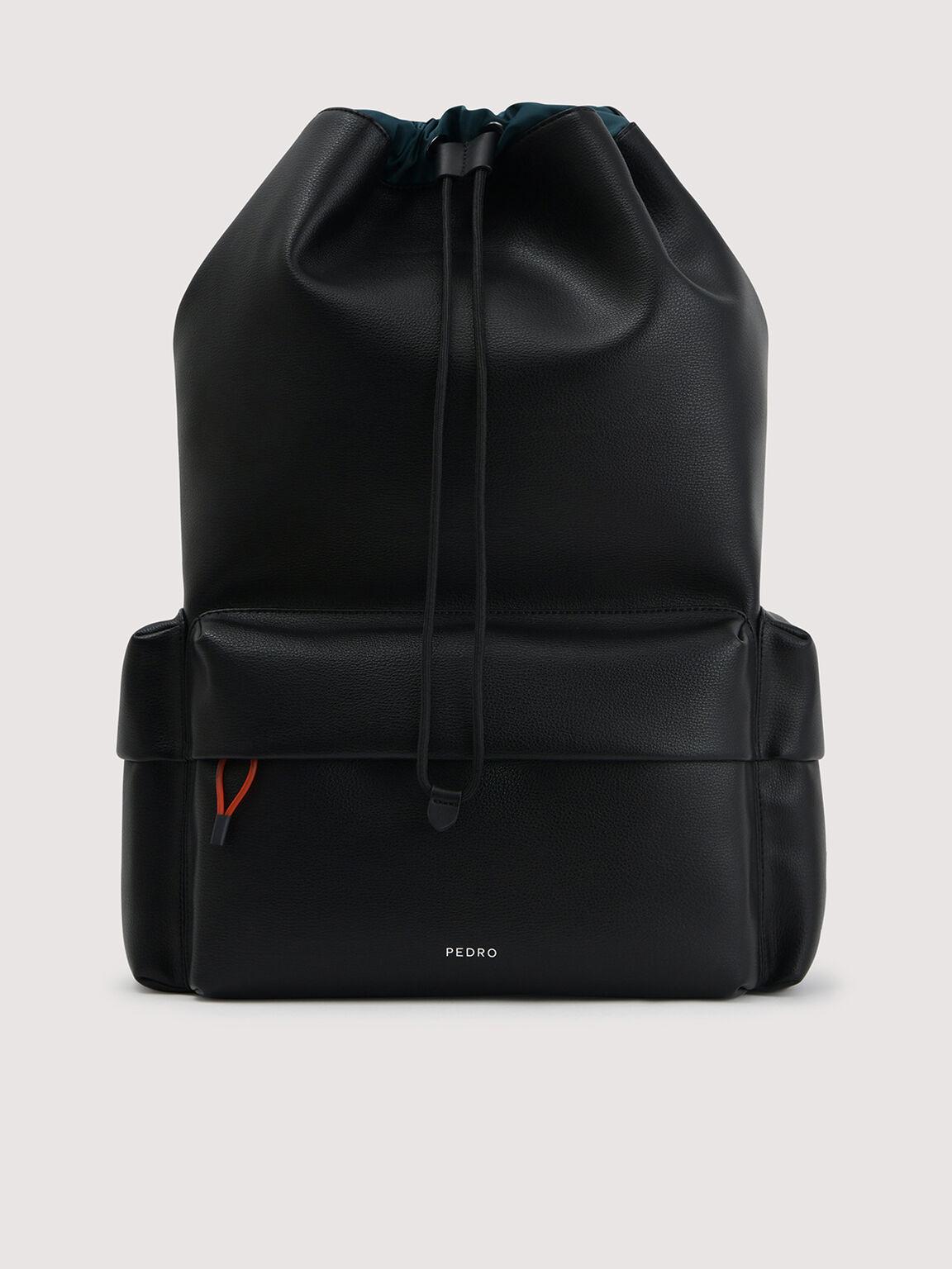 抽繩背包, 黑色, hi-res