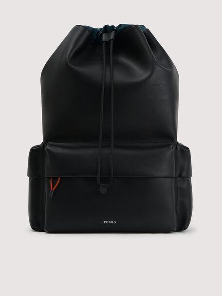 Drawstring Backpack, Black, hi-res