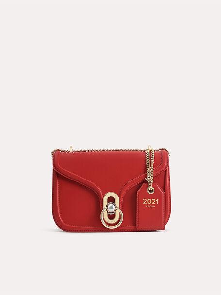 Leather Shoulder Bag, Red, hi-res