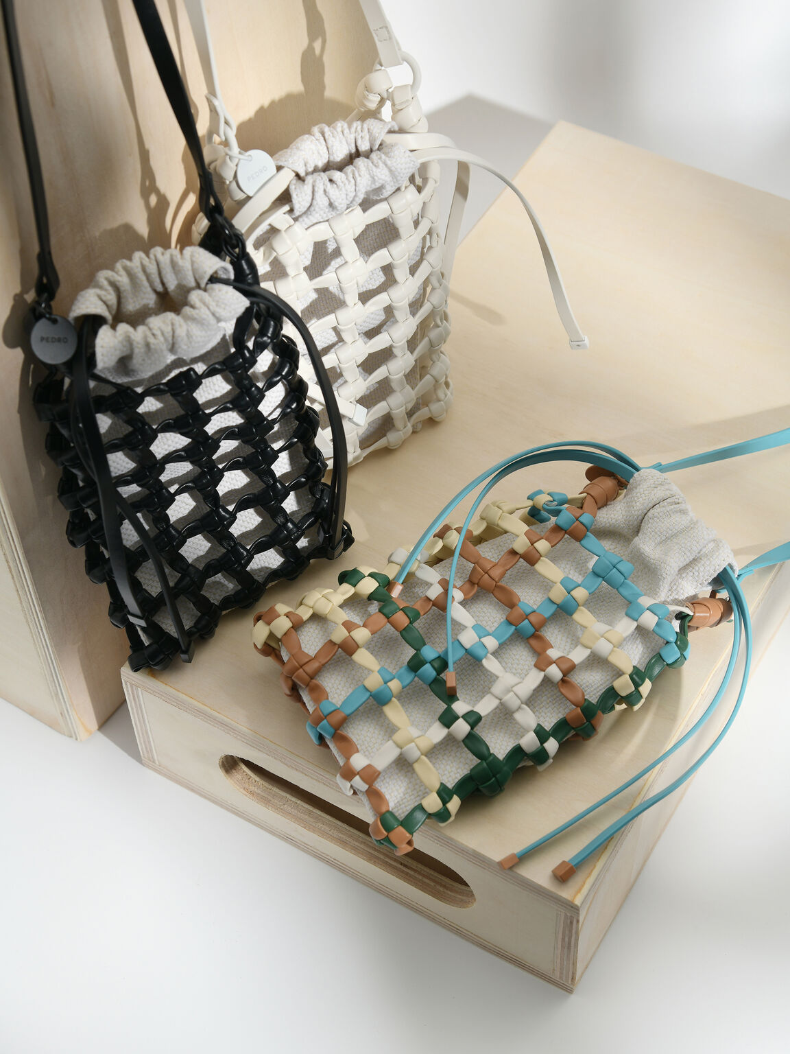 Woven Drawstring Pouch, Multi, hi-res