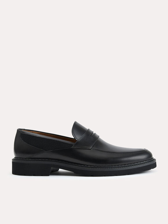 Burnished Leather Penny Loafer, Black, hi-res