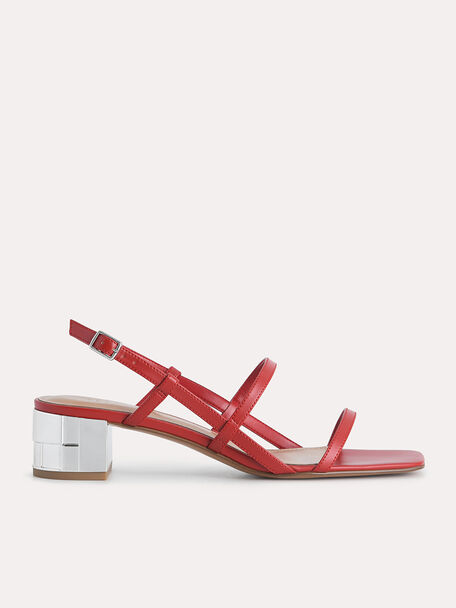 Square-Toe Caged Heeled Sandals, Red, hi-res