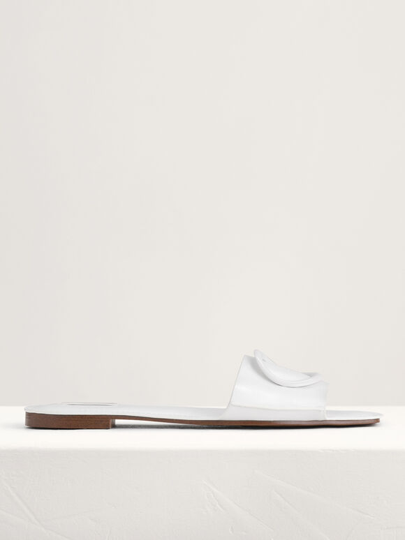 Ring Buckle Paneled Sandals, White, hi-res