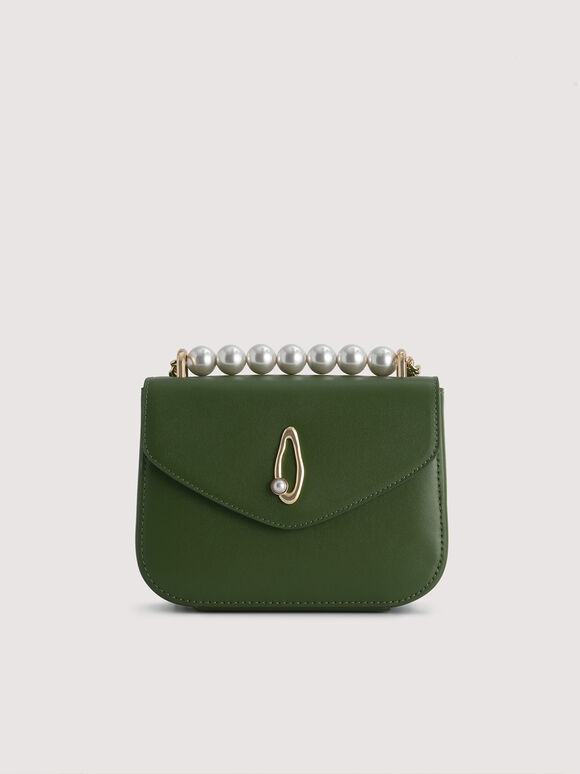 Pearl Detail Leather Shoulder Bag, Dark Green, hi-res