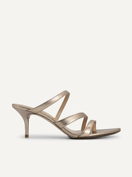 Metallic Leather Heeled Sandals, Gold, hi-res