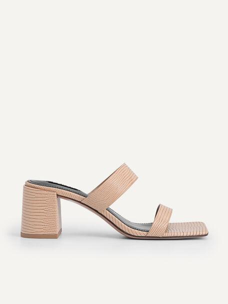 Lizard-effect Heeled Sandals, Nude, hi-res