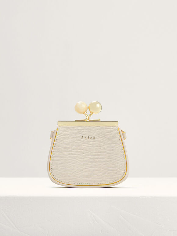 Kiss-Lock Leather Micro Bag with Lizard Effect, Chalk, hi-res