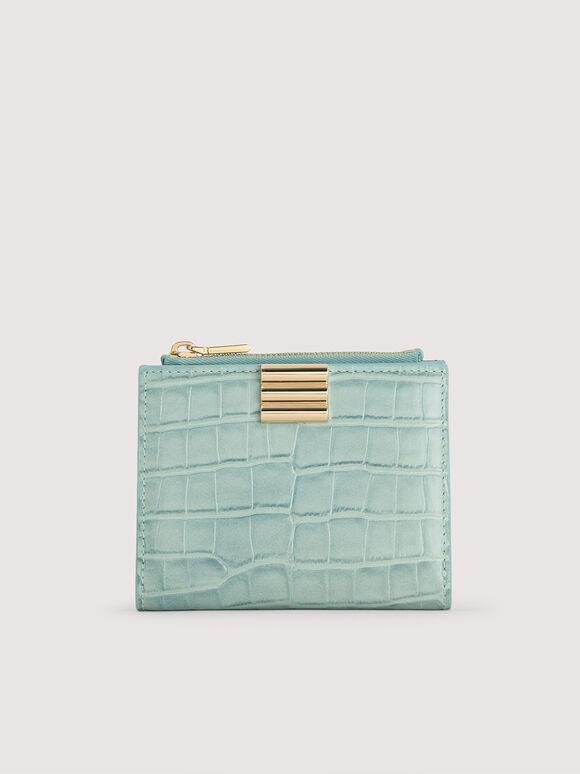 Embossed Leather Wallet, Aqua, hi-res