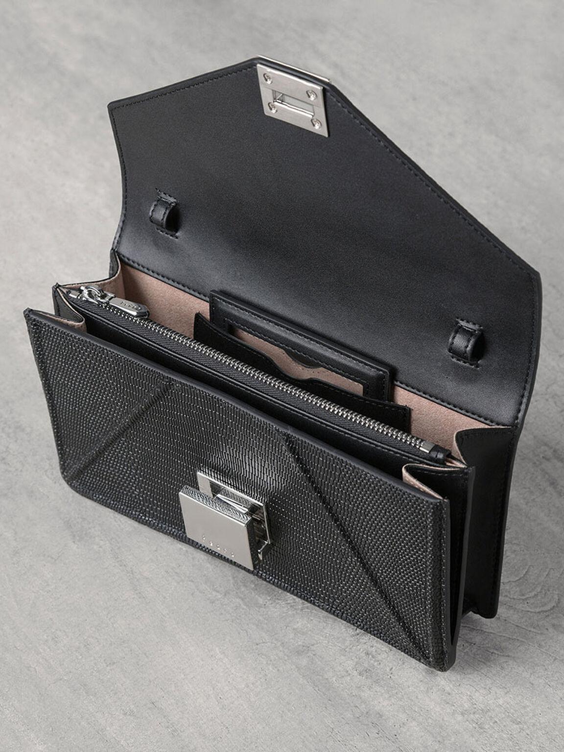Lizard-Effect Leather Envelope Travel Organizer, Black, hi-res
