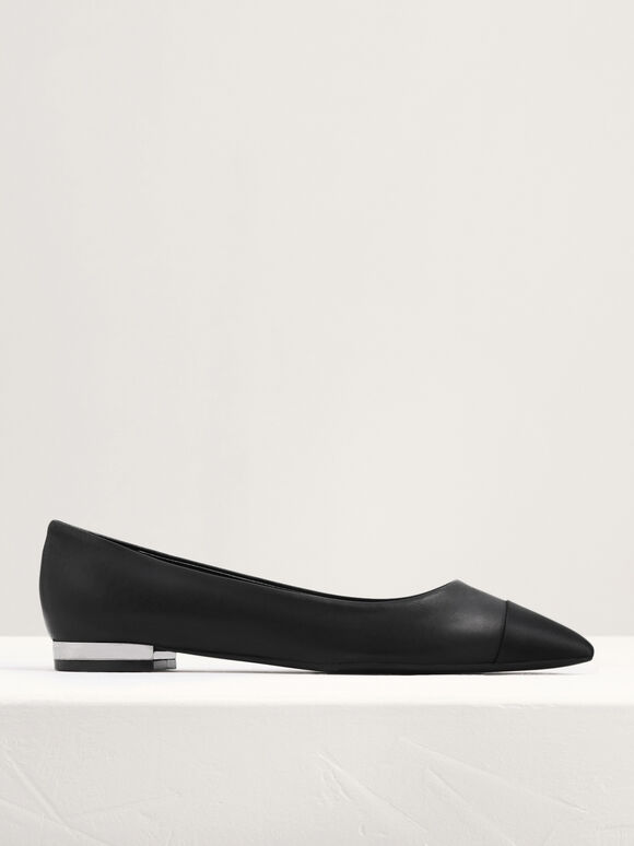 Leather And Satin Cap Toe Ballerina, Black, hi-res