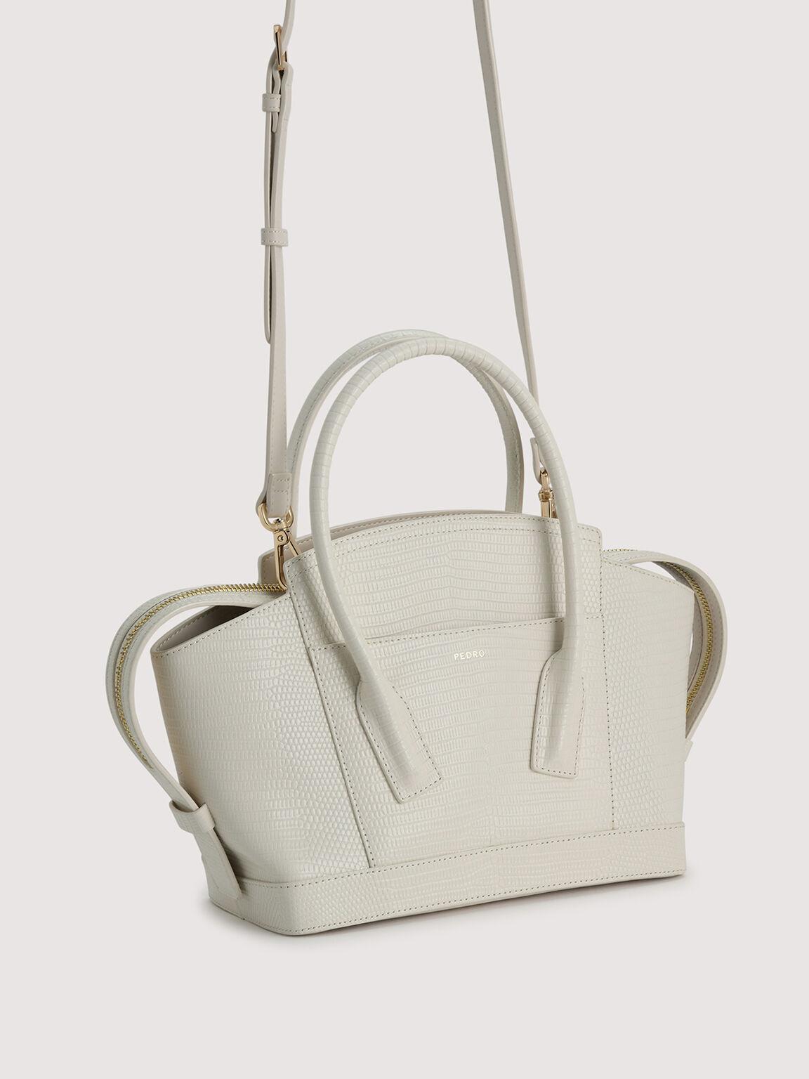 Embossed Leather Top Handle bag, Chalk, hi-res