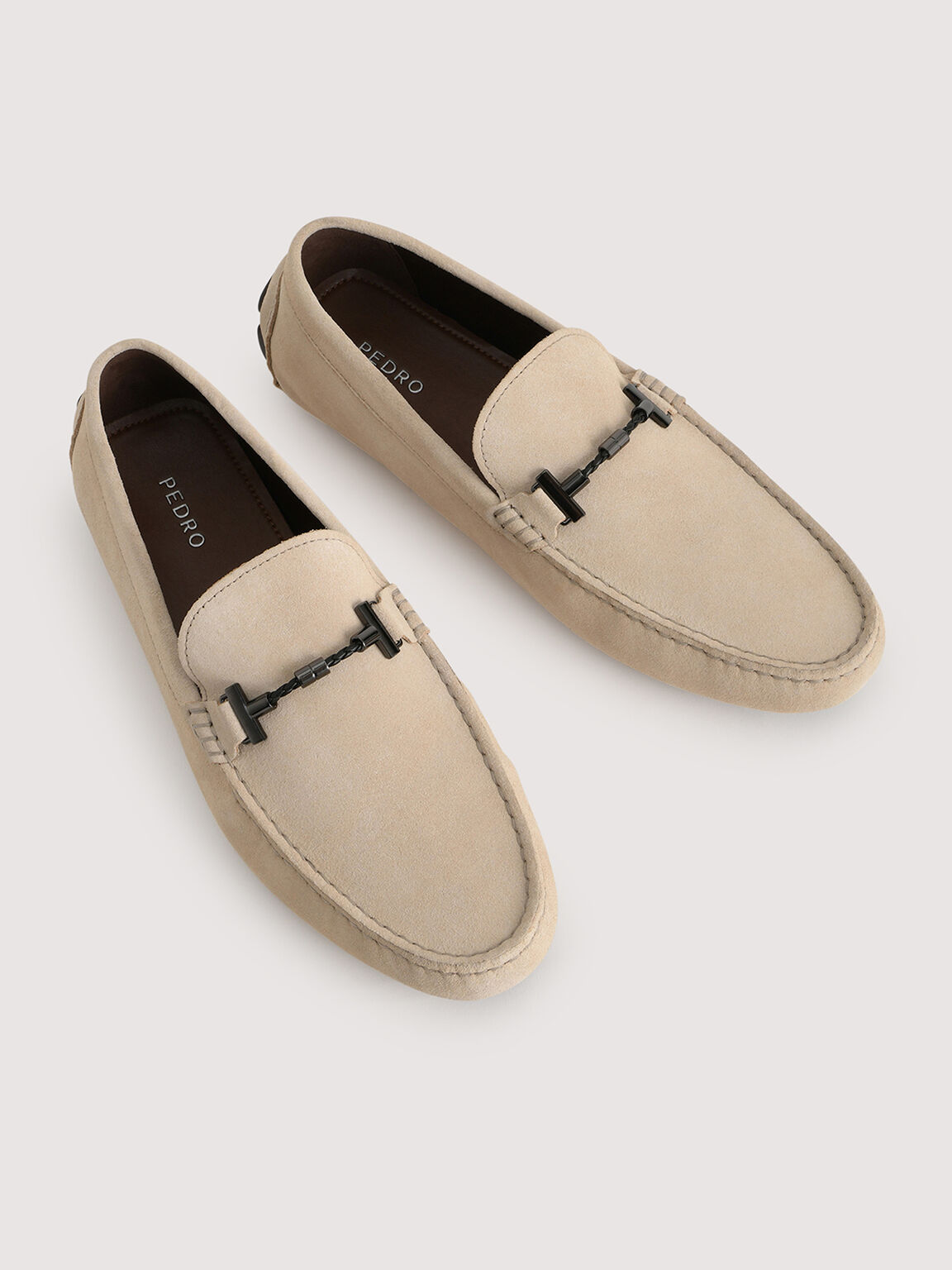 Calf Suede Loafers, Sand, hi-res