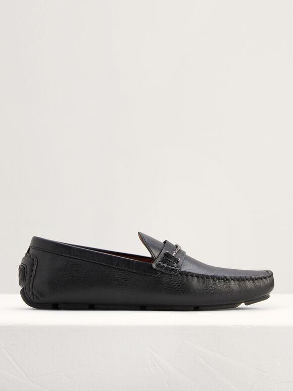 Square Toe Leather Moccasins, Black, hi-res