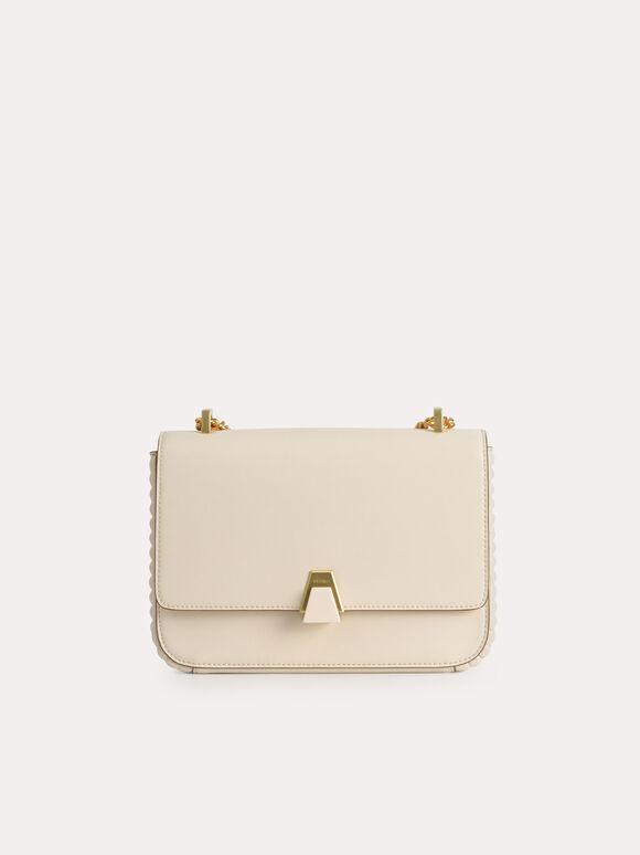 Structured Shoulder Bag, Beige, hi-res