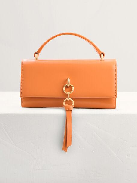 Leather Tasselled Tri-Fold Wallet, Orange, hi-res