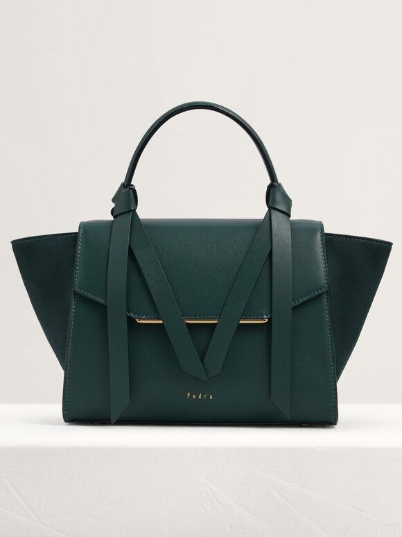 Knot Detail Trapeze Top Handle Bag, Green, hi-res