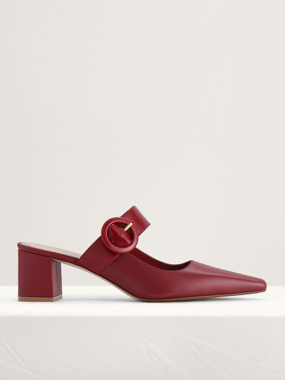 Buckled Leather Mules, Red, hi-res