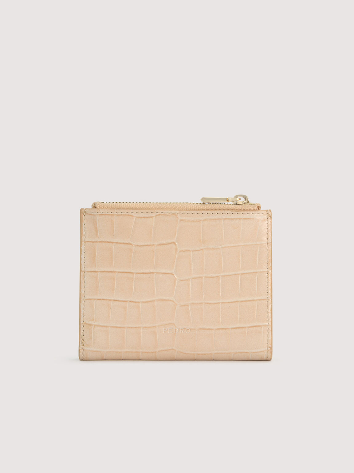 Embossed Leather Wallet, Nude, hi-res