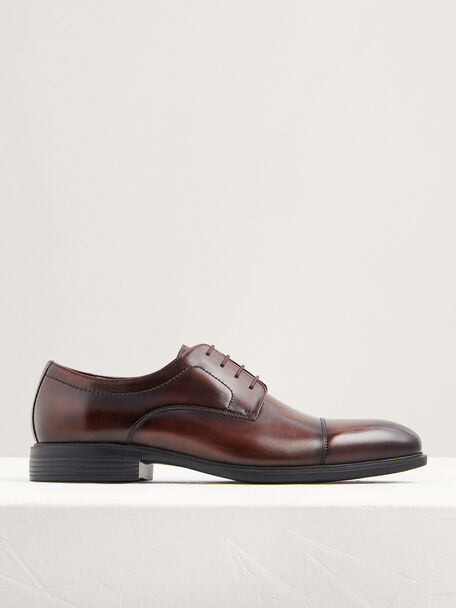 Lightweight Leather Cap Toe Derby Shoes, Light Brown, hi-res