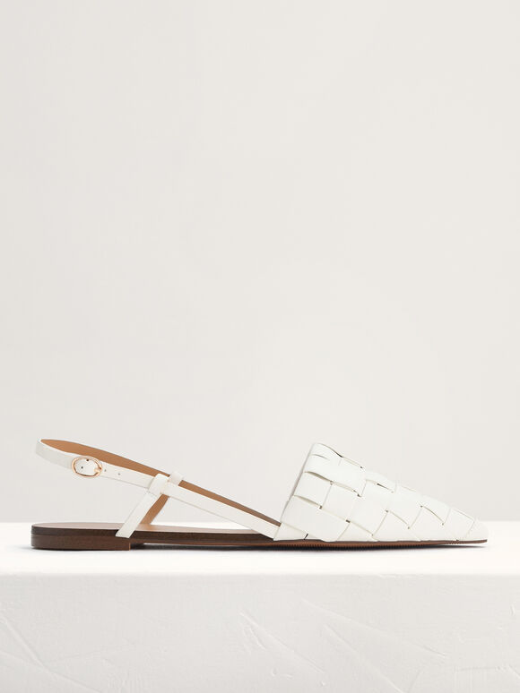 Braided Slingback Flats, White, hi-res