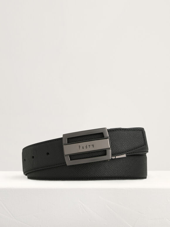 Leather Reversible Tang Belt, Black, hi-res