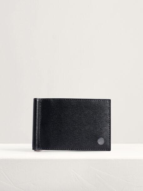 Leather Bi-Fold Money Clip Card Holder, Black, hi-res