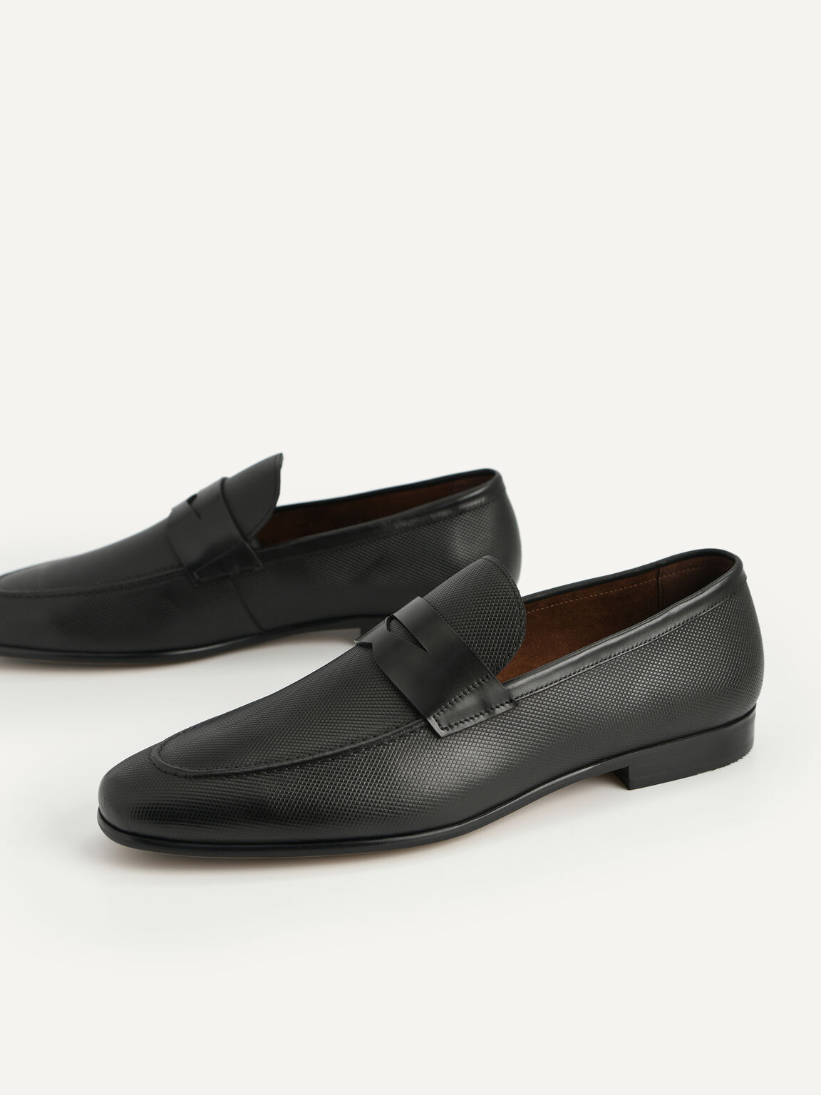 Textured Leather Penny Loafers, Black, hi-res