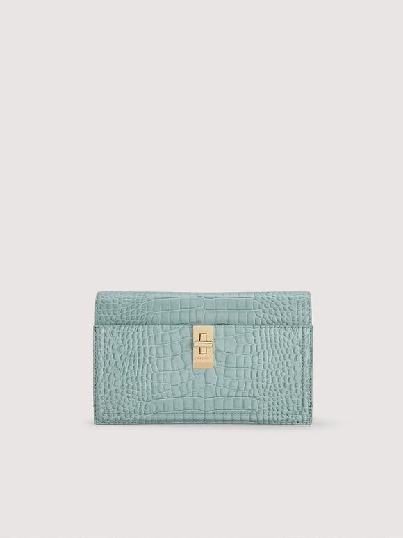 Embossed Leather Shoulder Bag, Aqua, hi-res