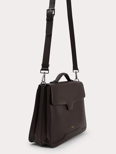 Leather Briefcase, Dark Brown, hi-res