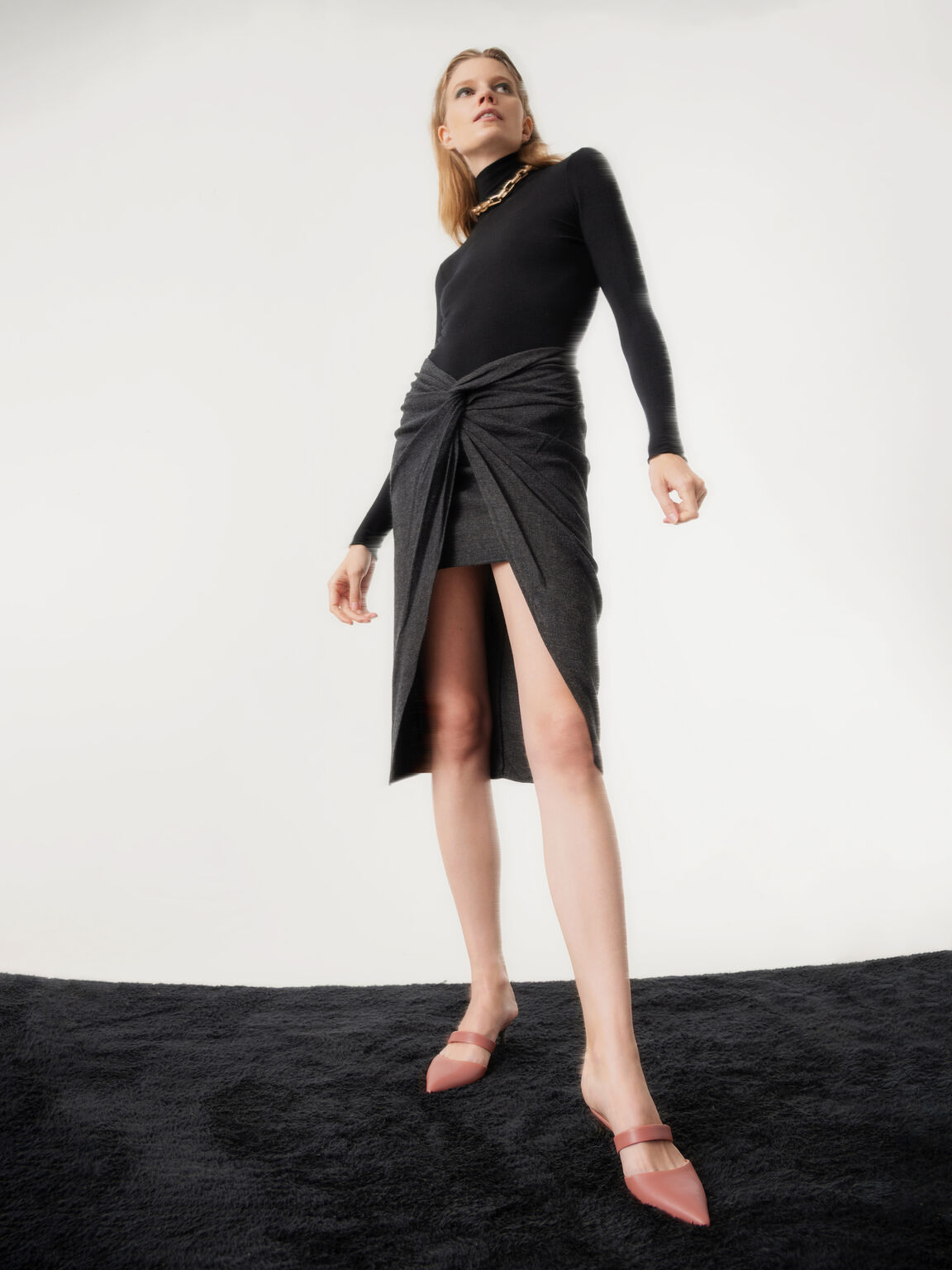 Leather Slip-On Heels, Coral, hi-res