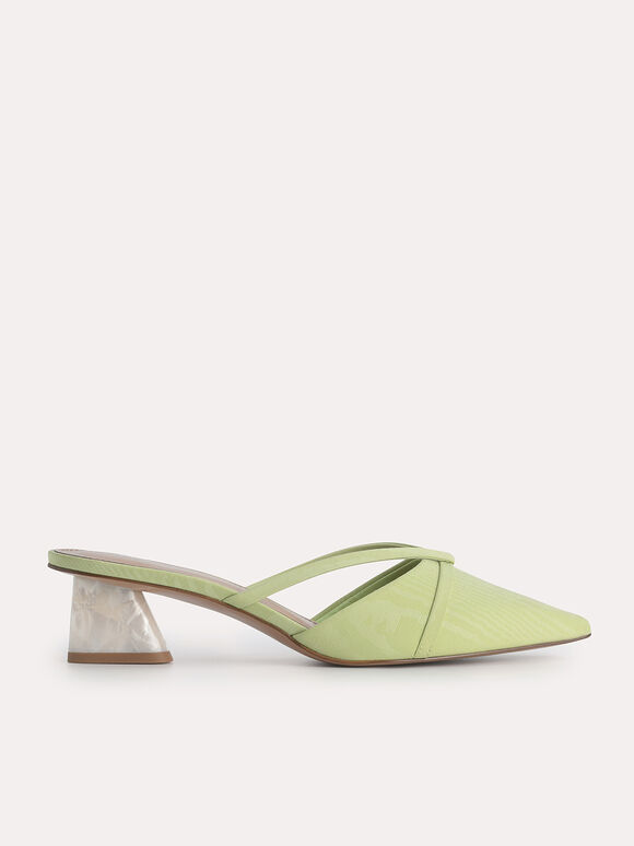 Pointed Heeled Mules, Light Green, hi-res