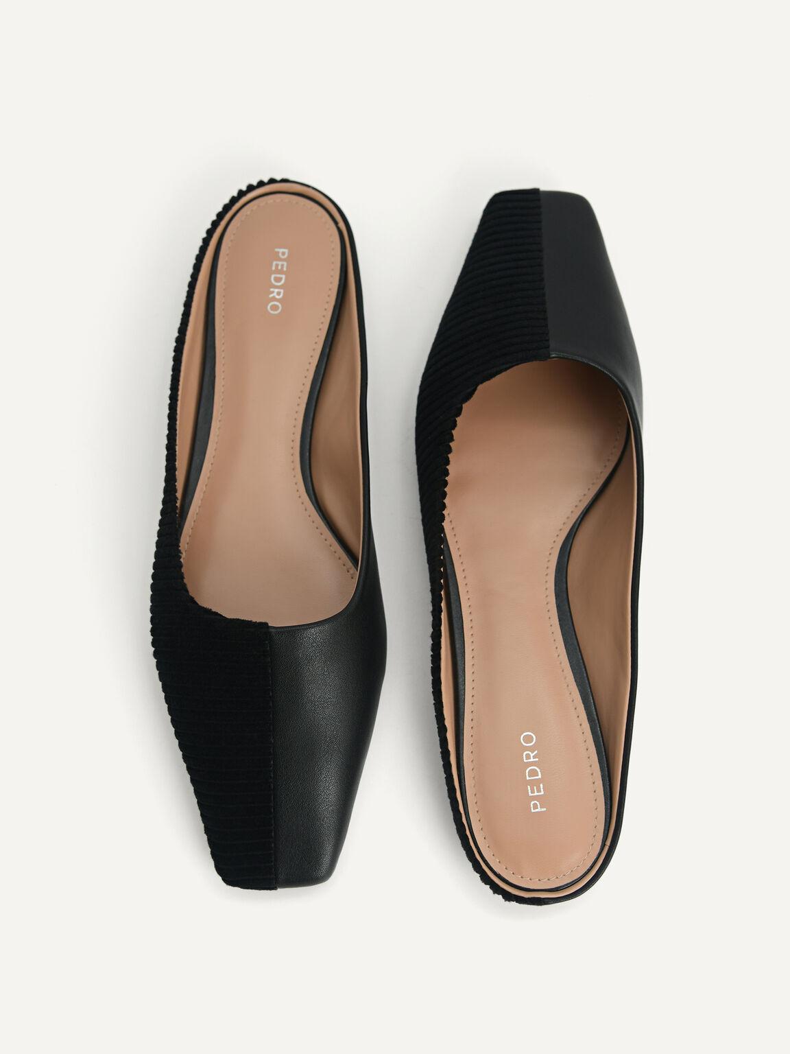 Corduroy Slip-On Flats, Black, hi-res