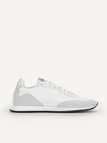 Nylon Leather Casual Sneakers, White, hi-res