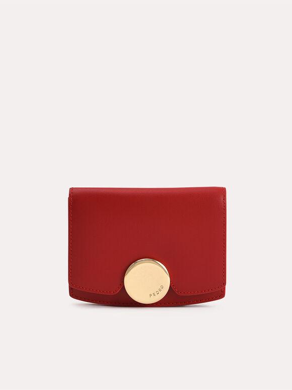 Leather Bi-Fold Wallet, Red, hi-res