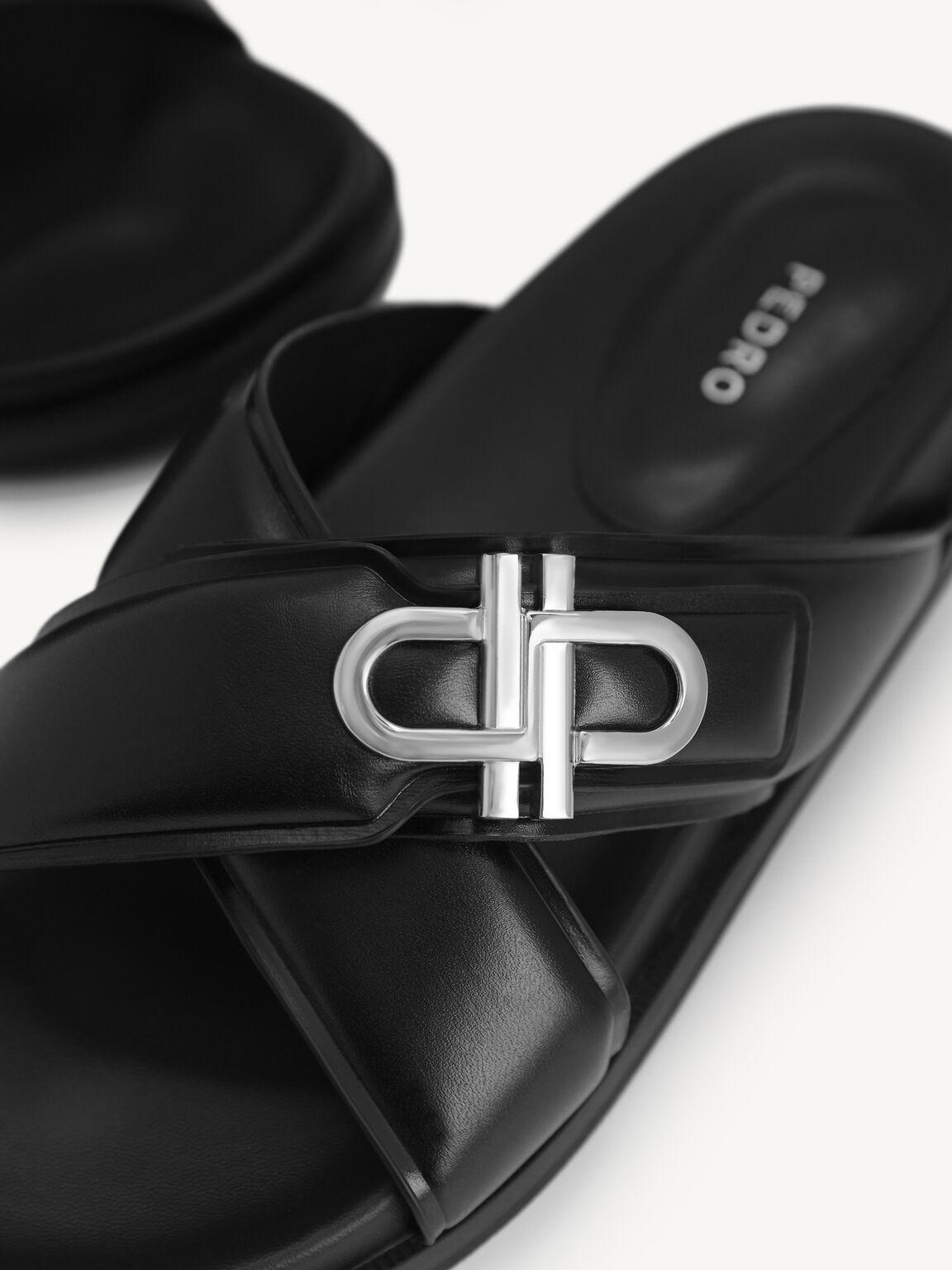 Icon Cross Strap Platform Sliders, Black, hi-res
