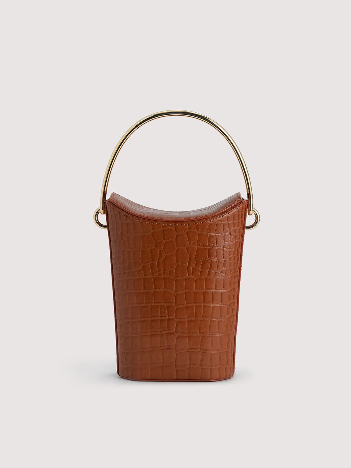 Embossed Leather Bucket Bag, Cognac, hi-res