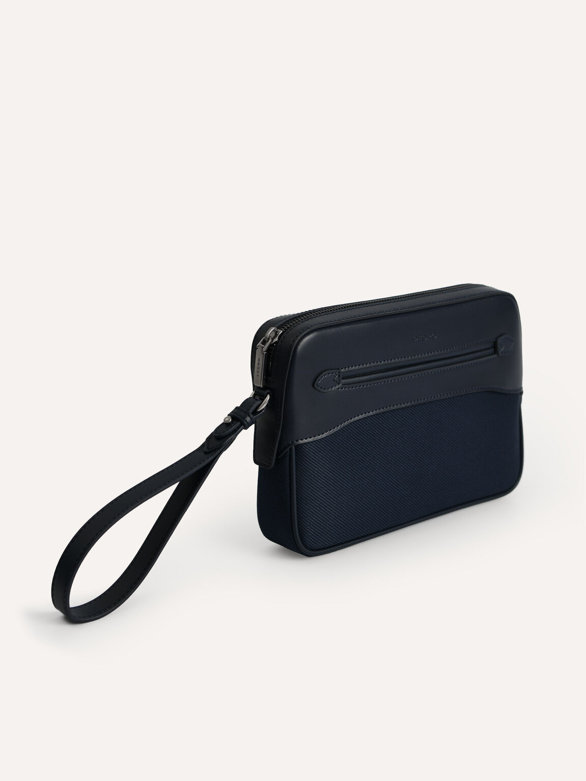 Leather Clutch, Navy, hi-res