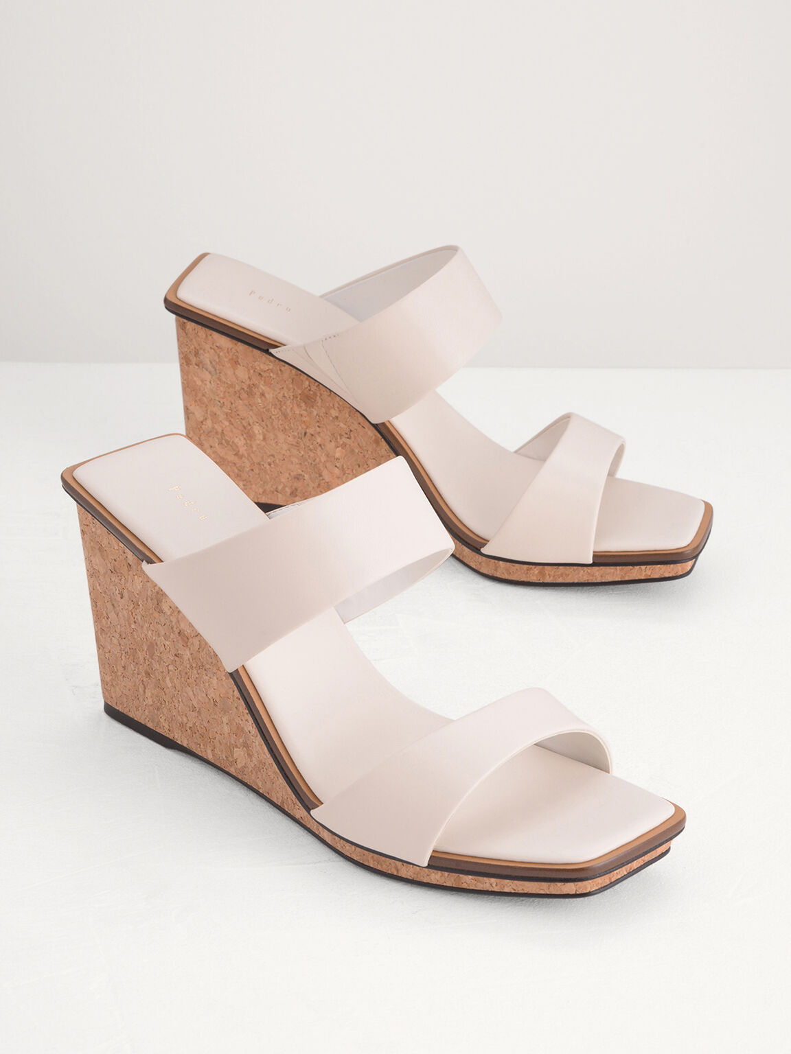 Strappy Wedge Sandals, White, hi-res