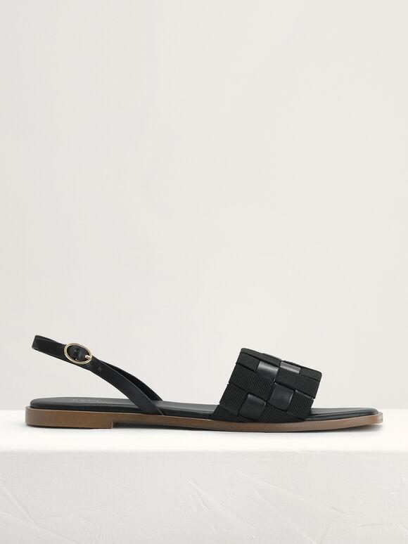 Braided Slingback Sandals, Black, hi-res