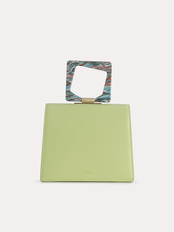 Top Handle Bag with Acrylic Handle, Light Green, hi-res