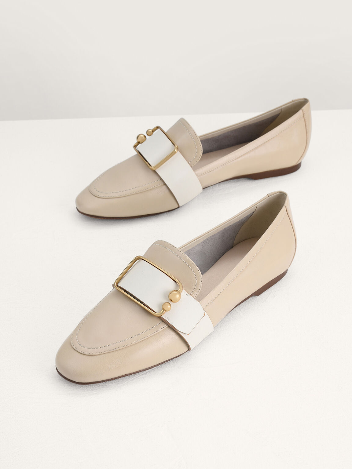 Buckle Leather Loafers, Beige, hi-res
