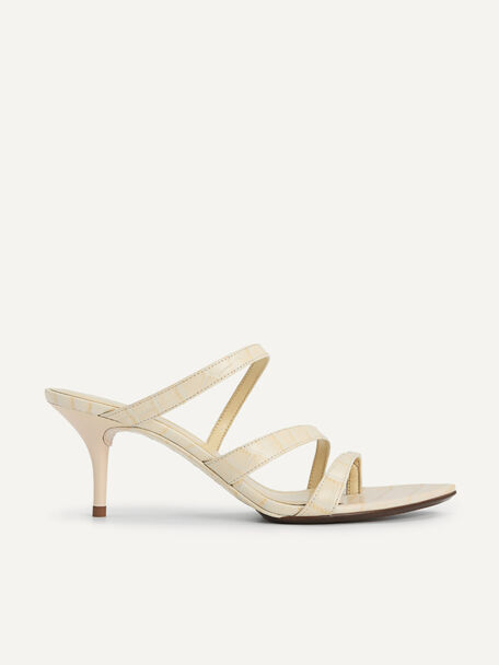 Croc-Effect Leather Heeled Sandals, Light Yellow, hi-res